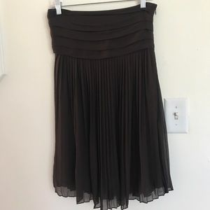 Alice + Olivia Silk pleated Brown Strapless Dress